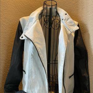 Rag and Bone Denim Jacket with leather sleeves.